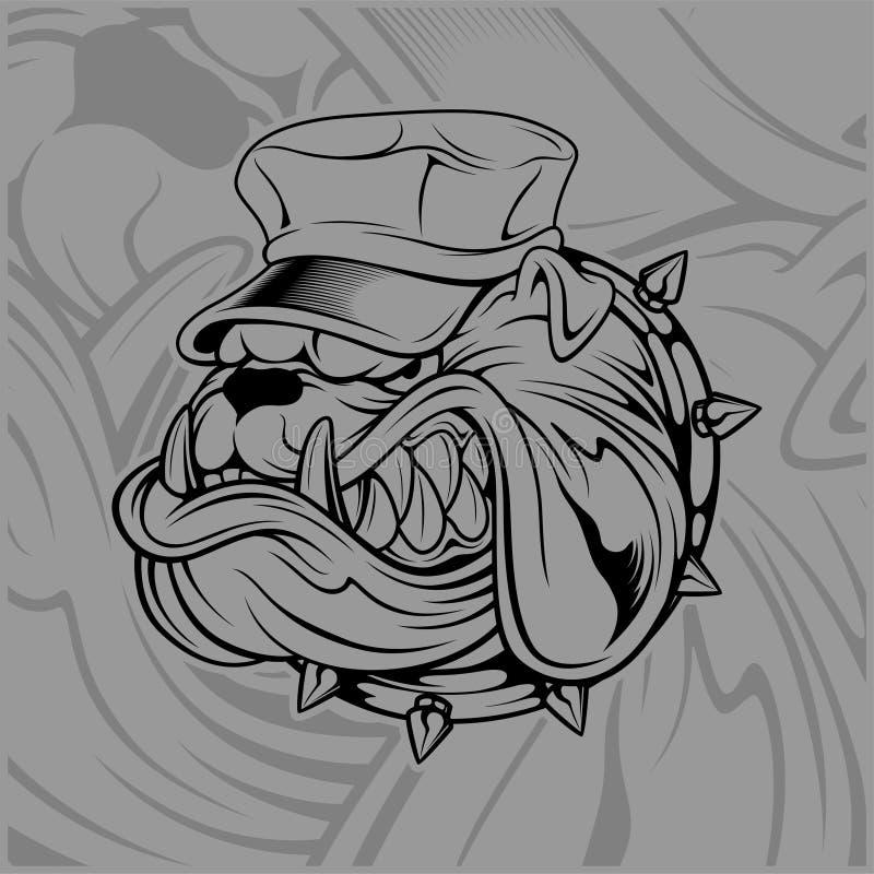 Chapeau de port de bouledogue illustration de vecteur