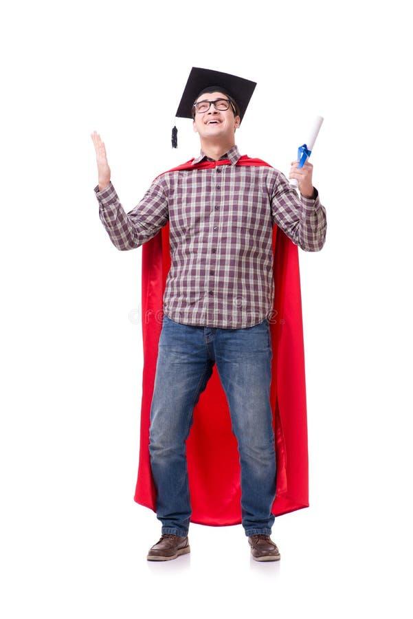 Chapeau de port de graduation de panneau de mortier d'étudiant de superhéros d'isolement images stock