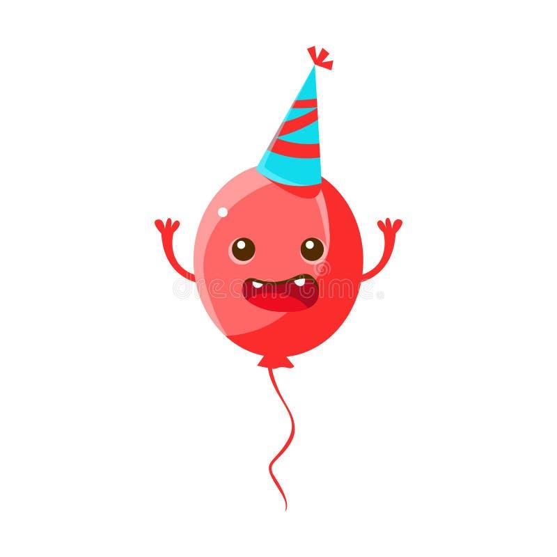 Chapeau de port de partie de ballon, joyeux anniversaire et personnage de dessin animé de symbole de partie de célébration illustration libre de droits