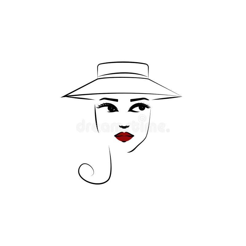 Chapeau de roue, icône de fille Élément de belle fille dans une icône de chapeau pour des applis mobiles de concept et de Web Cha illustration stock