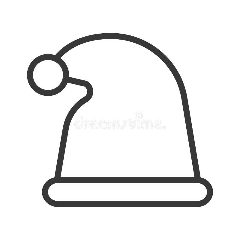 Chapeau de Santa, ensemble de thème de Joyeux Noël, course editable pi d'ensemble illustration stock