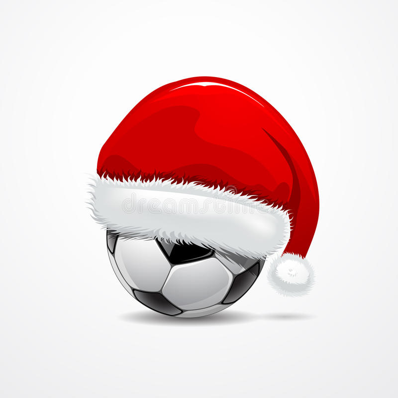 Chapeau de Santa sur la bille de football illustration libre de droits