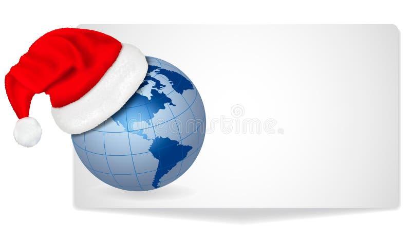 Chapeau de Santa sur un globe. Vecteur illustration de vecteur