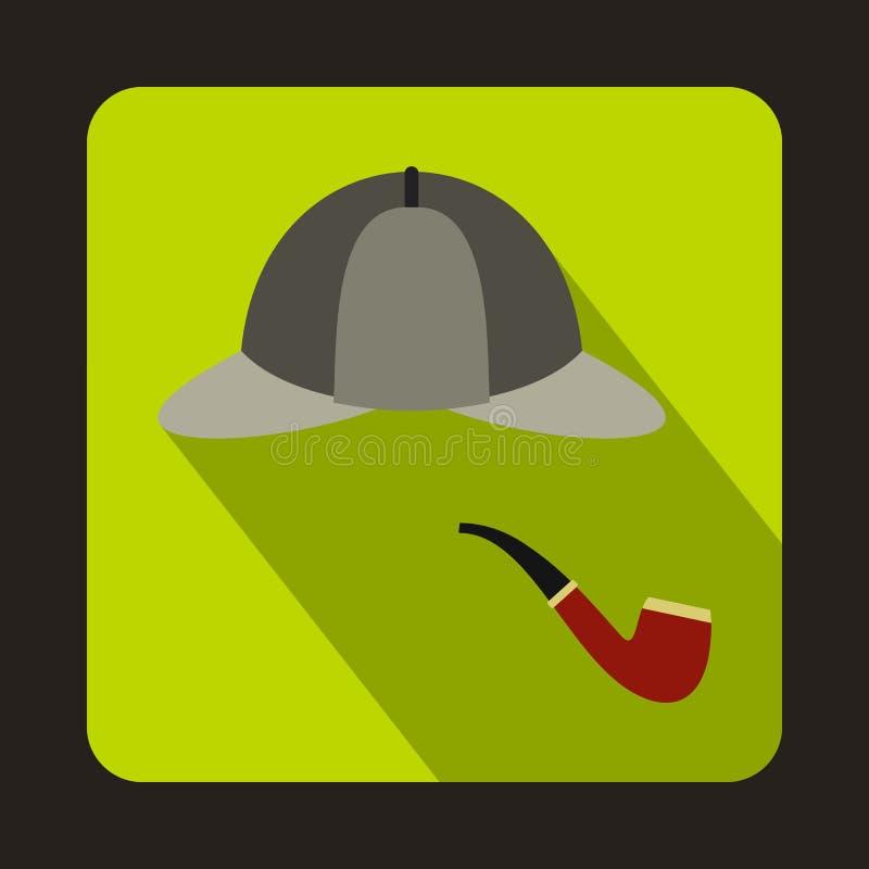 Chapeau de Sherlock Holmes de détective, icône de tuyau de tabagisme illustration de vecteur