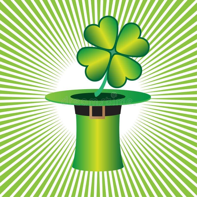 Chapeau de St Patrick avec le trèfle chanceux de quatre feuilles illustration libre de droits
