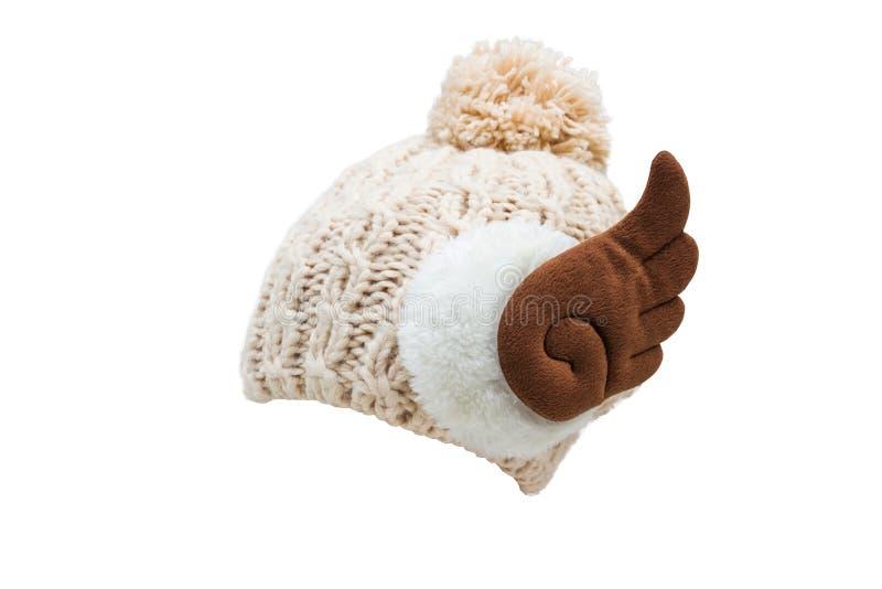 Chapeau de tricotage du ` s de femmes, d'isolement sur le fond blanc images libres de droits