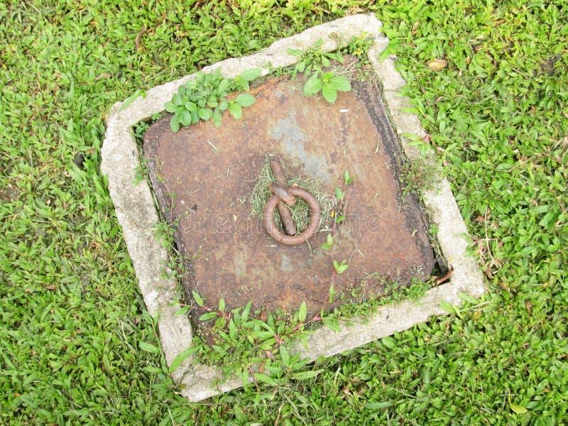 Chapeau de tuyau sur la pelouse images libres de droits