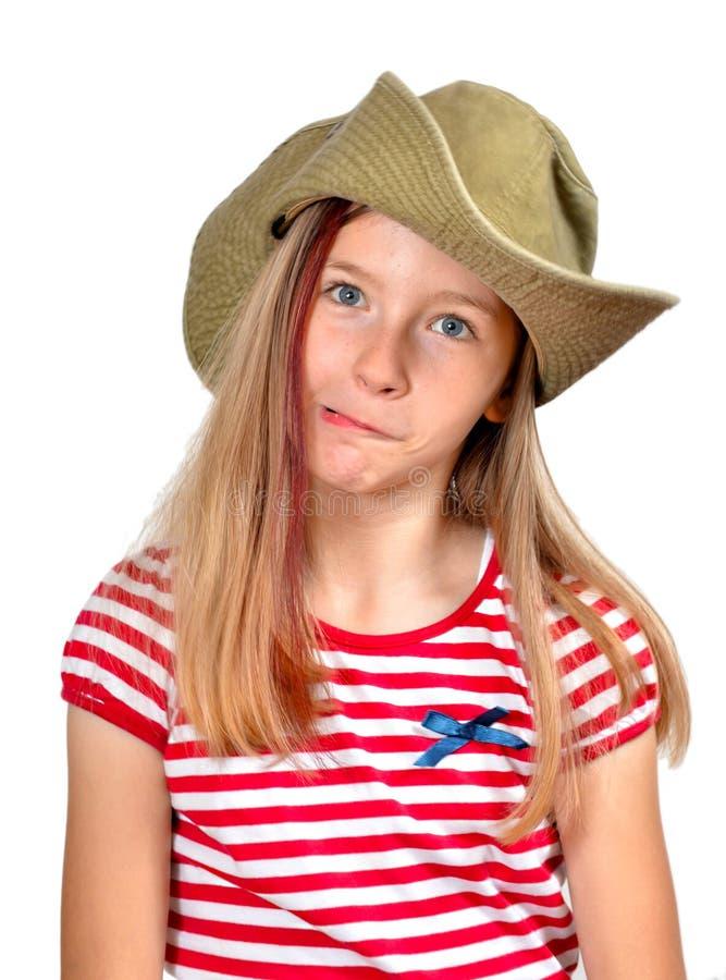 Chapeau drôle de visage de fille photos stock