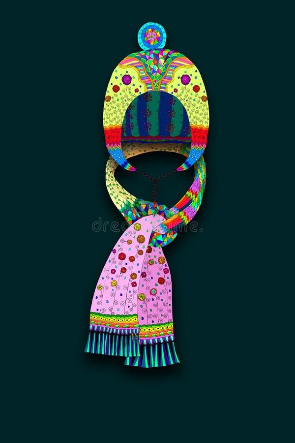 Chapeau et écharpe illustration de vecteur