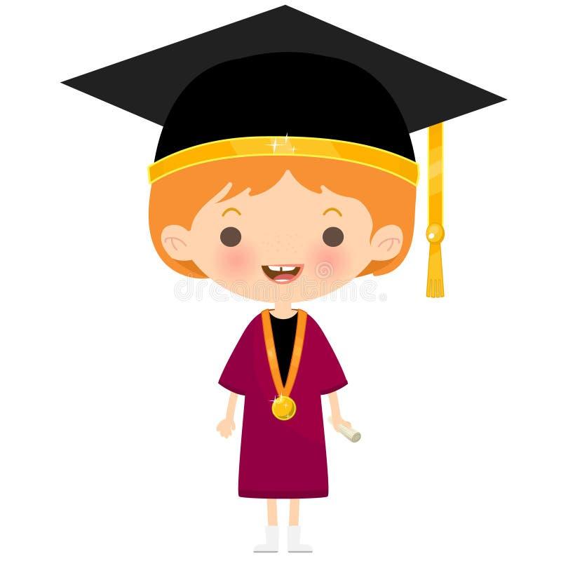 Chapeau et équipement de port d'obtention du diplôme d'étudiant heureux de logo photographie stock libre de droits