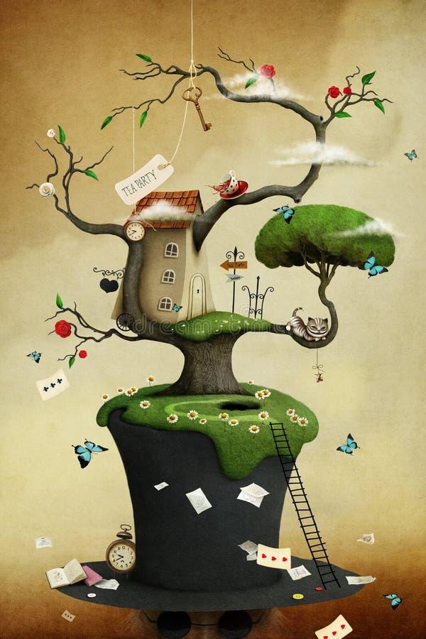 Chapeau et arbre illustration de vecteur