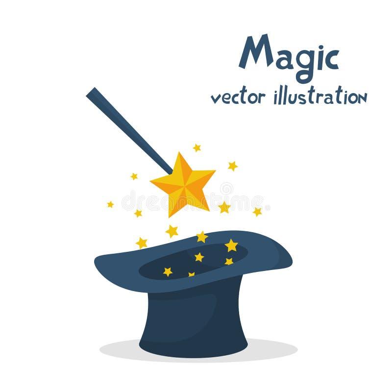 Chapeau et baguette magique magiques avec des étincelles illustration de vecteur