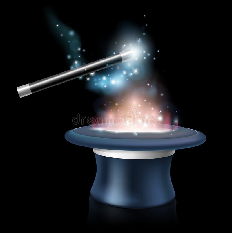 Chapeau et baguette magique magiques de coutil illustration de vecteur