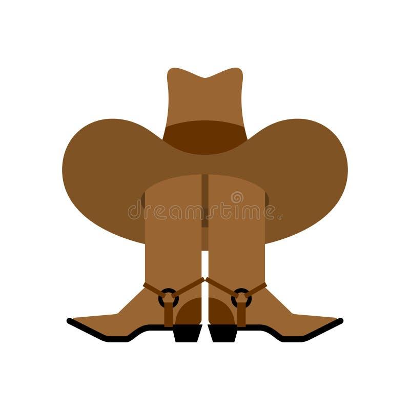 Chapeau et bottes de cowboy d'isolement accessoire occidental Chaussures occidentales sauvages illustration stock
