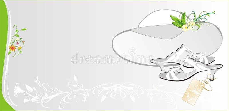 Chapeau et chaussures blancs femelles. Carte de mode illustration de vecteur