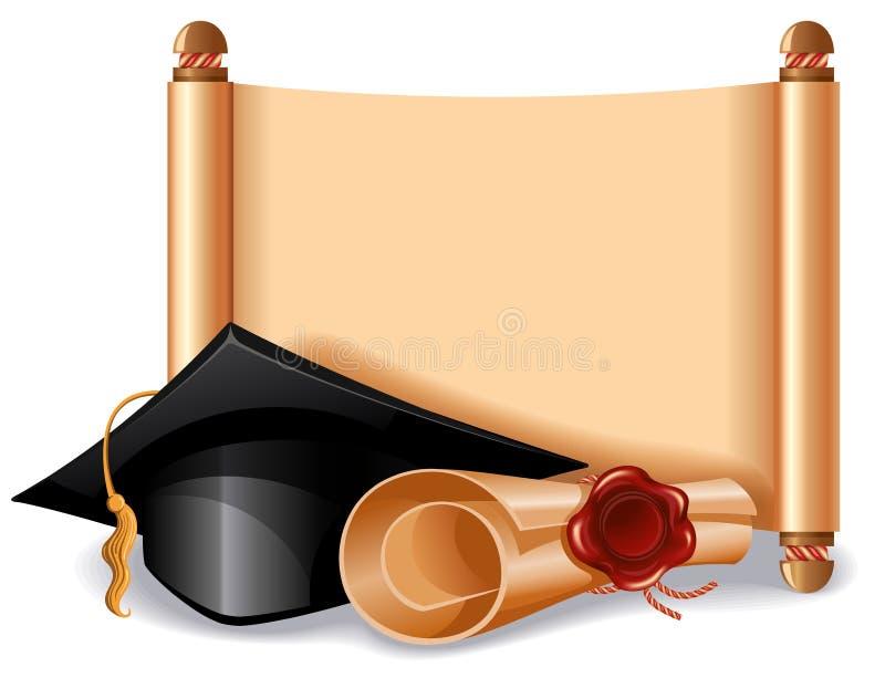 Chapeau et diplôme d'obtention du diplôme illustration libre de droits