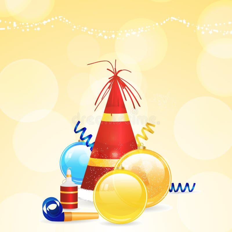 Chapeau et flammes de fête de Noël illustration de vecteur