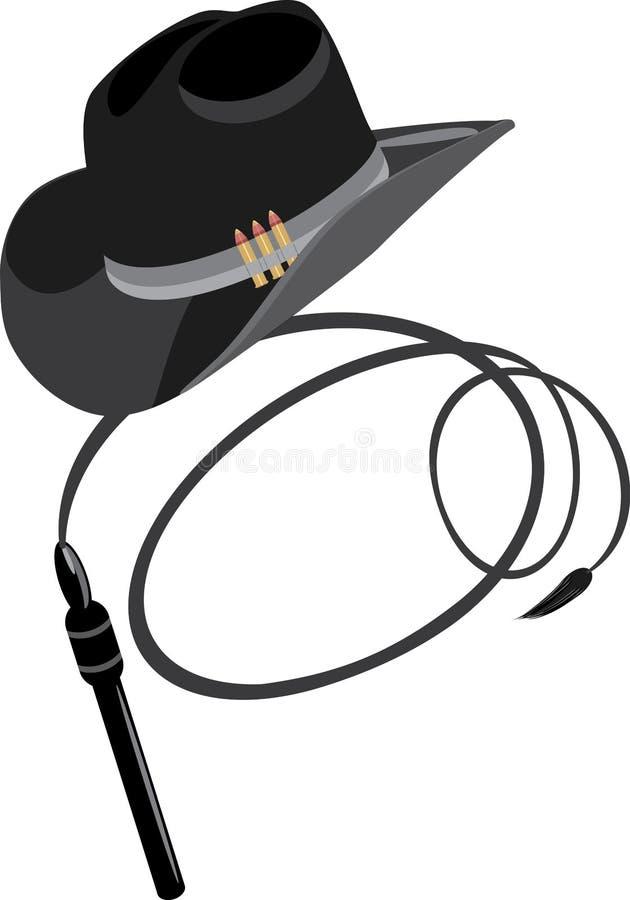 Chapeau et fouet de cowboy illustration stock