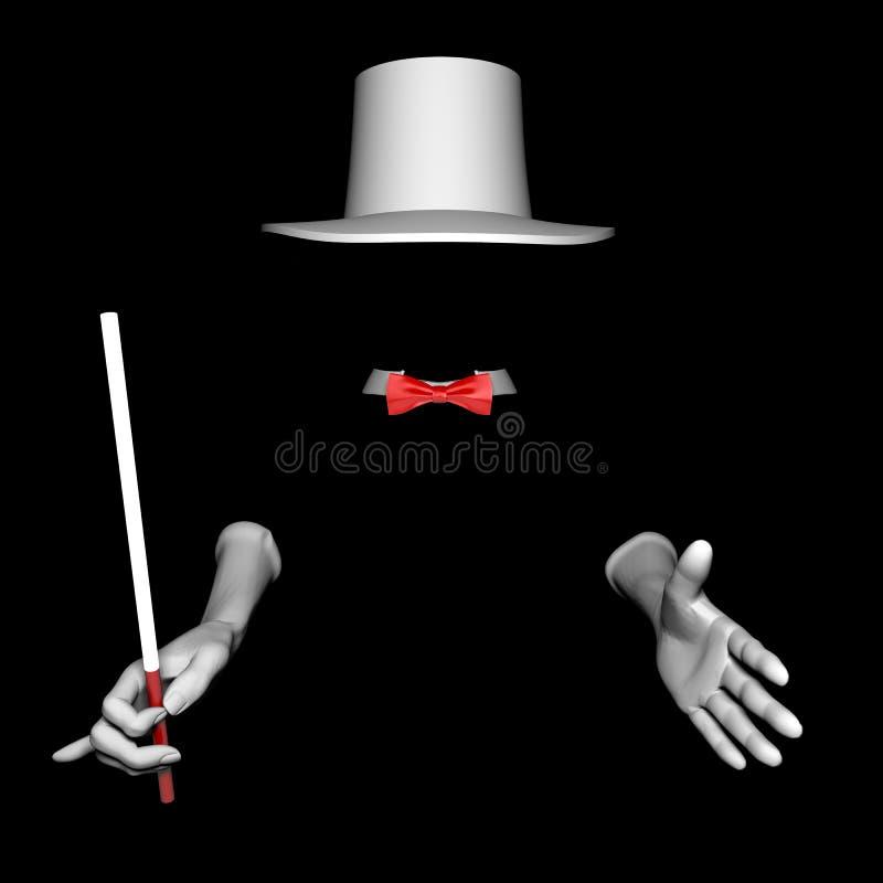Chapeau et gants de magicien illustration de vecteur