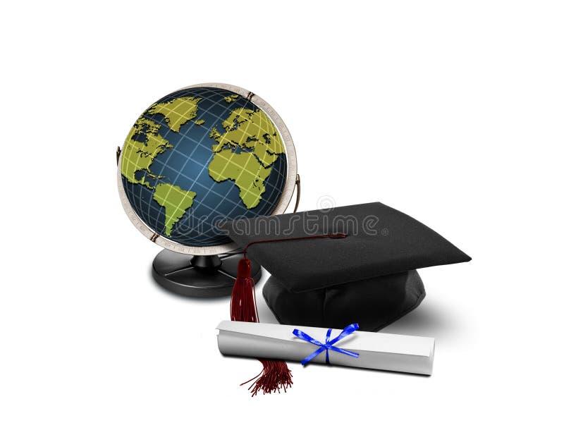 Chapeau et globe de graduation photo libre de droits