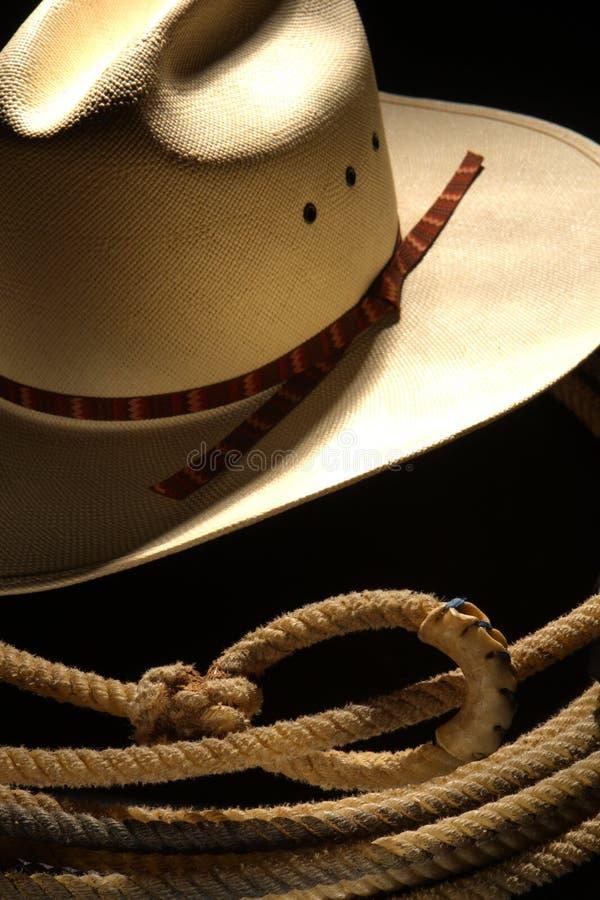 Chapeau et lasso de cowboy de rodéo photos stock