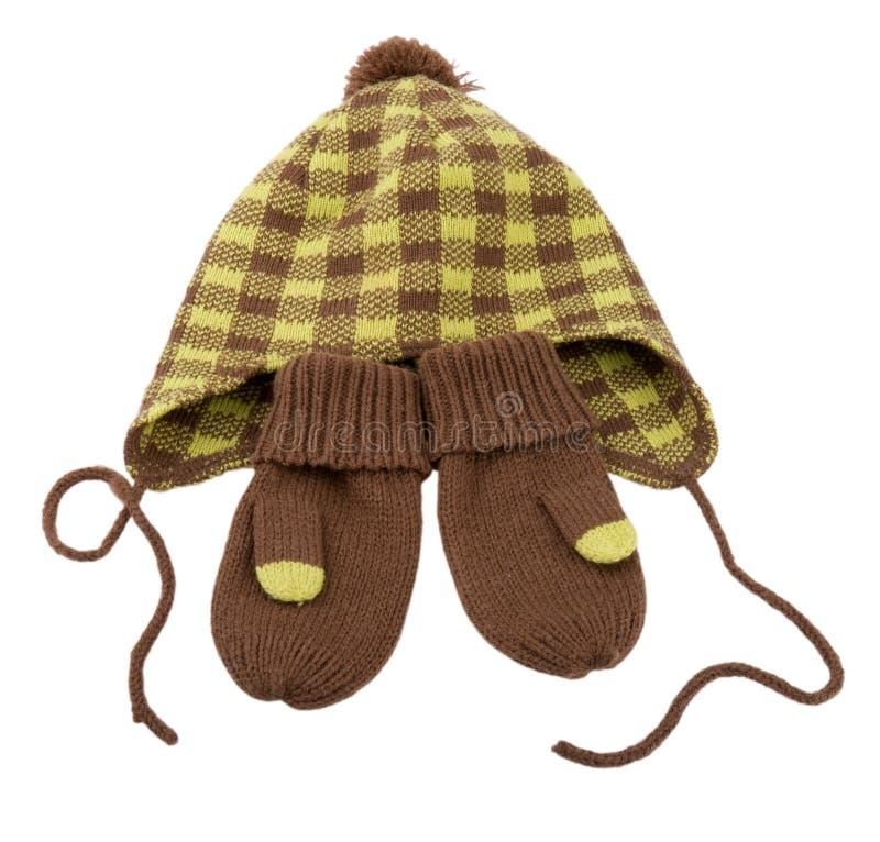 Chapeau et mitaines de l'hiver des enfants. photo libre de droits