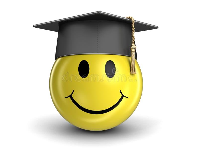 Chapeau et smiley d'obtention du diplôme illustration libre de droits