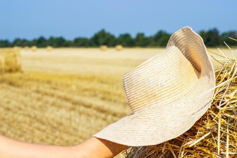 Chapeau fonctionnant d'un agriculteur sur une meule de foin Comcept d'agriculture Concept de moisson photo libre de droits