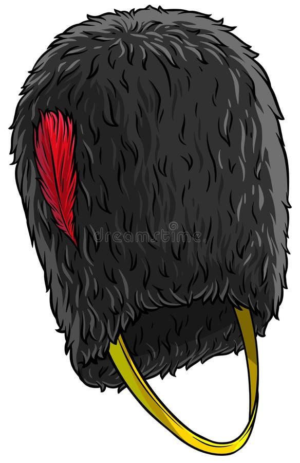 Chapeau grand de fourrure de bonnet à poils britannique de noir de bande dessinée illustration stock