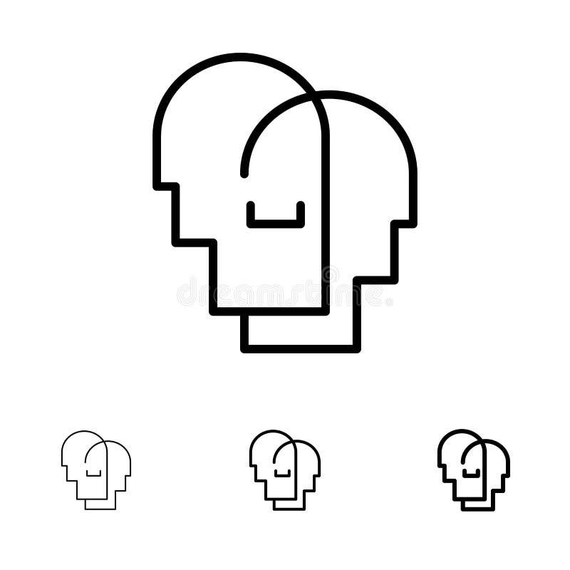 Chapeau, humain, empathie, sentiments audacieux et ligne noire mince ensemble d'icône illustration libre de droits