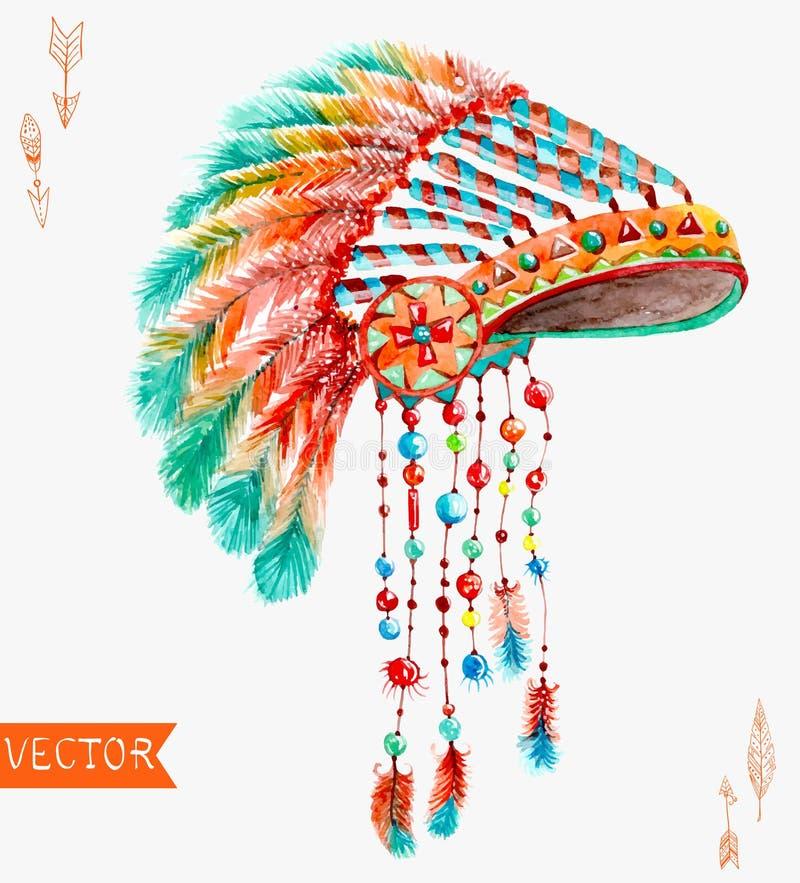 Chapeau indien tribal, fond d'aquarelle illustration libre de droits