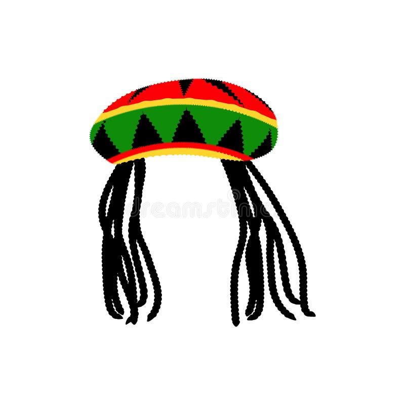 Chapeau jamaïcain de rasta avec des dreadlocks Avatar de style de reggae D'isolement sur le fond blanc Vecteur illustration libre de droits