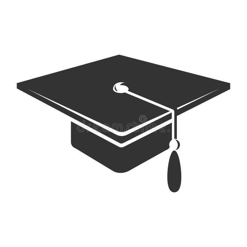 Chapeau licencié avec l'icône de gland, symbole noir d'académie illustration de vecteur