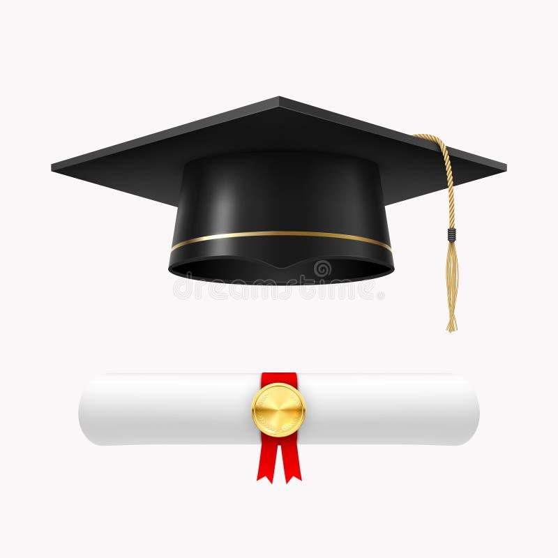 Chapeau licencié avec le diplôme, la cérémonie d'université et l'accomplissement illustration libre de droits