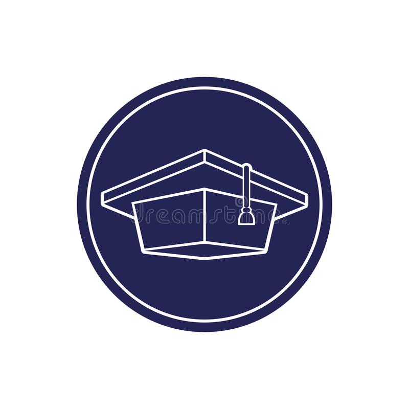 Chapeau licencié, image d'isolement monochrome en cercle illustration stock