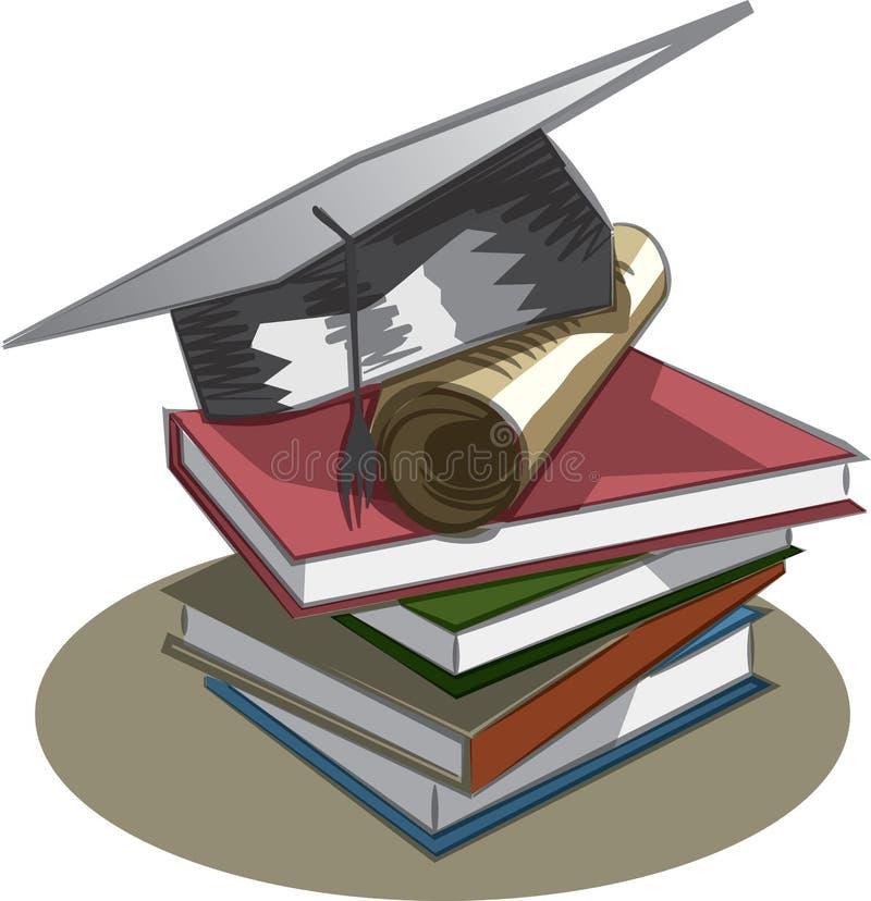 Chapeau, livres et diplôme d'obtention du diplôme illustration libre de droits