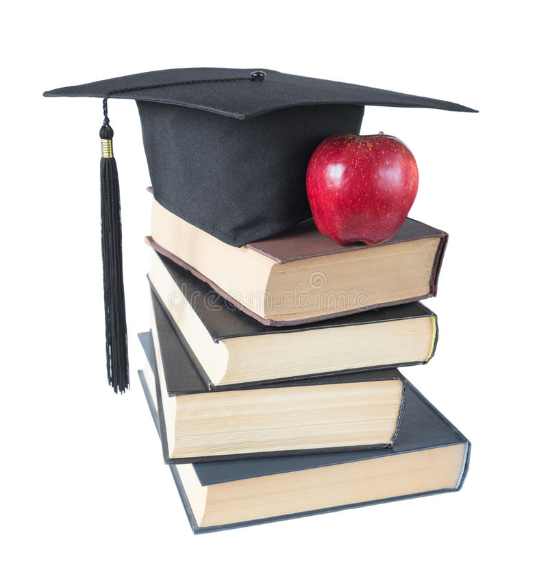 Download Chapeau, Livres Et Pomme Licenciés Photo stock - Image du intelligence, concept: 76080450