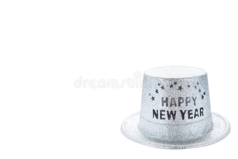 Chapeau métallique argenté de partie de bonne année d'isolement sur le backg blanc images stock