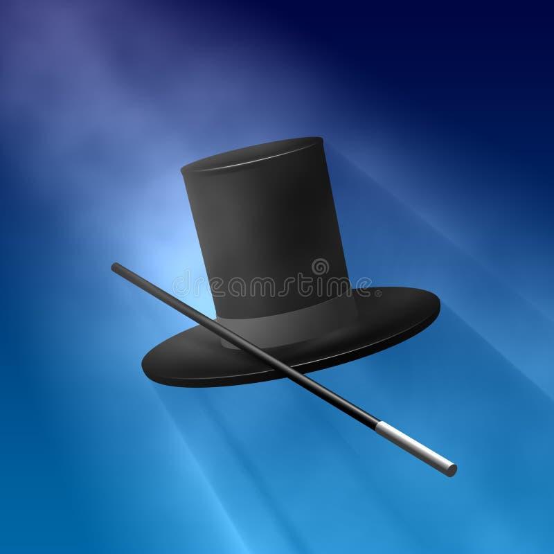 Chapeau magique avec la baguette magique illustration libre de droits