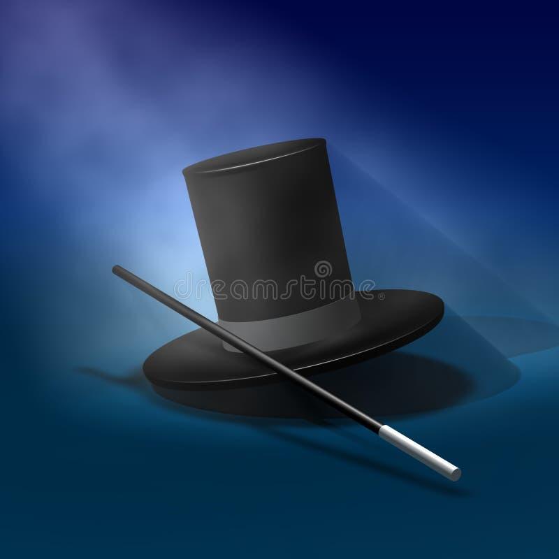 Chapeau magique avec la baguette magique illustration stock