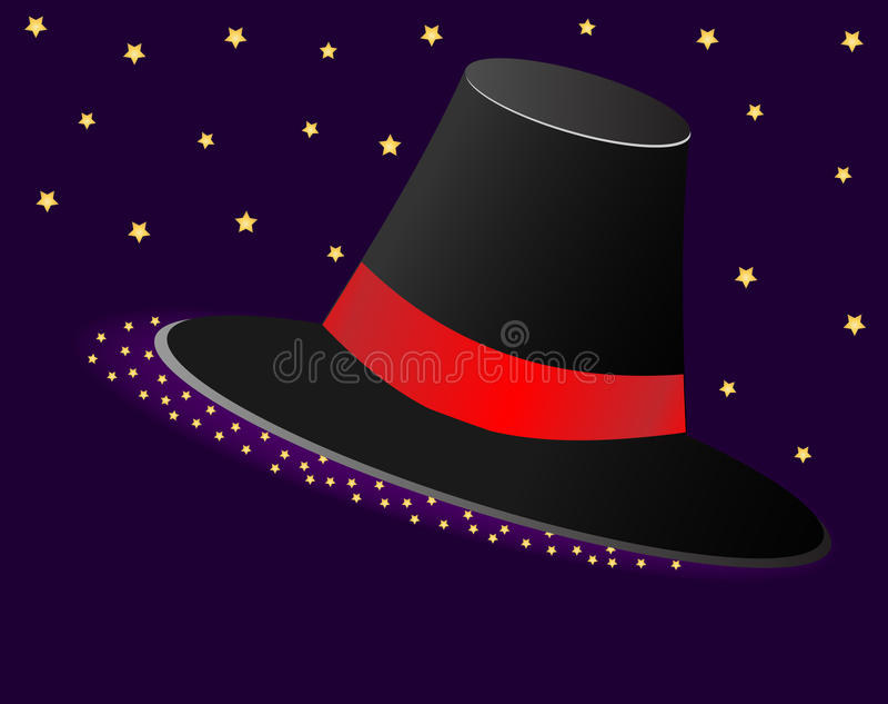 Chapeau magique avec un ruban rouge et des astérisques Illustration de vecteur image stock
