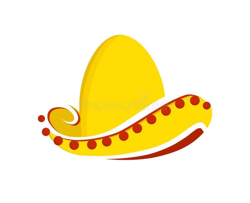 Chapeau mexicain traditionnel de sombrero d'illustration de vecteur d'isolement sur un fond blanc illustration de vecteur