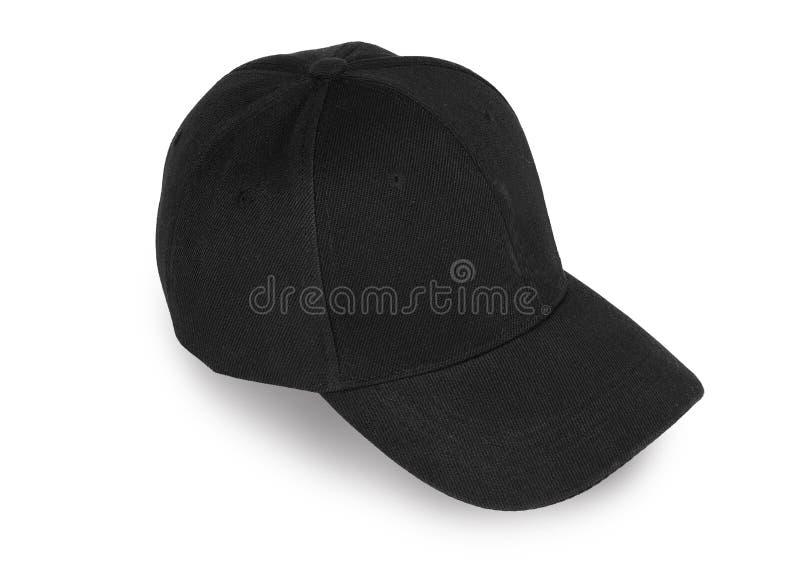 Chapeau noir de base-ball d'isolement sur le fond blanc image stock