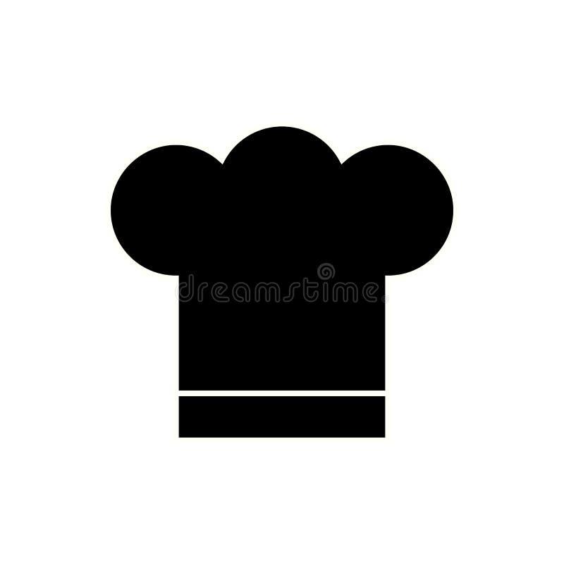 Chapeau noir de chef sur le fond blanc Chapeau de cuisinier EPS10 illustration libre de droits