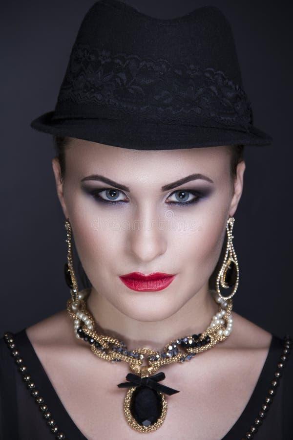 Chapeau noir de femme photo stock