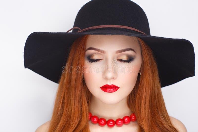 Chapeau noir de femme photographie stock