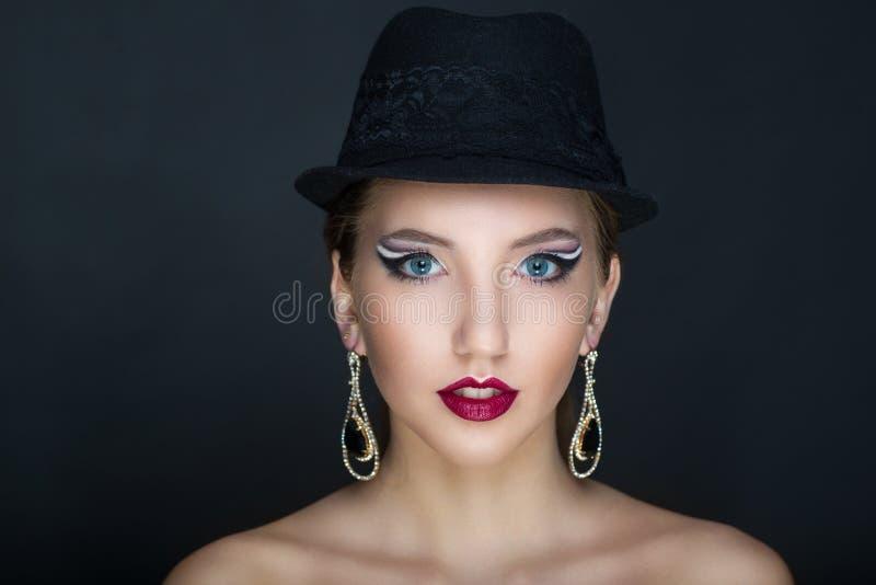 Chapeau noir de femme photographie stock libre de droits