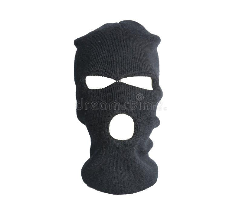 Chapeau noir de voleur, passe-montagne d'isolement sur le fond blanc photo stock
