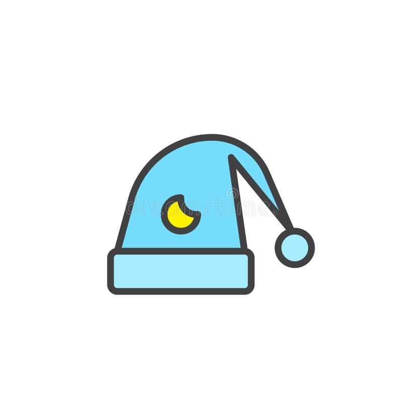 Chapeau pour l'icône remplie par sommeil d'ensemble illustration libre de droits