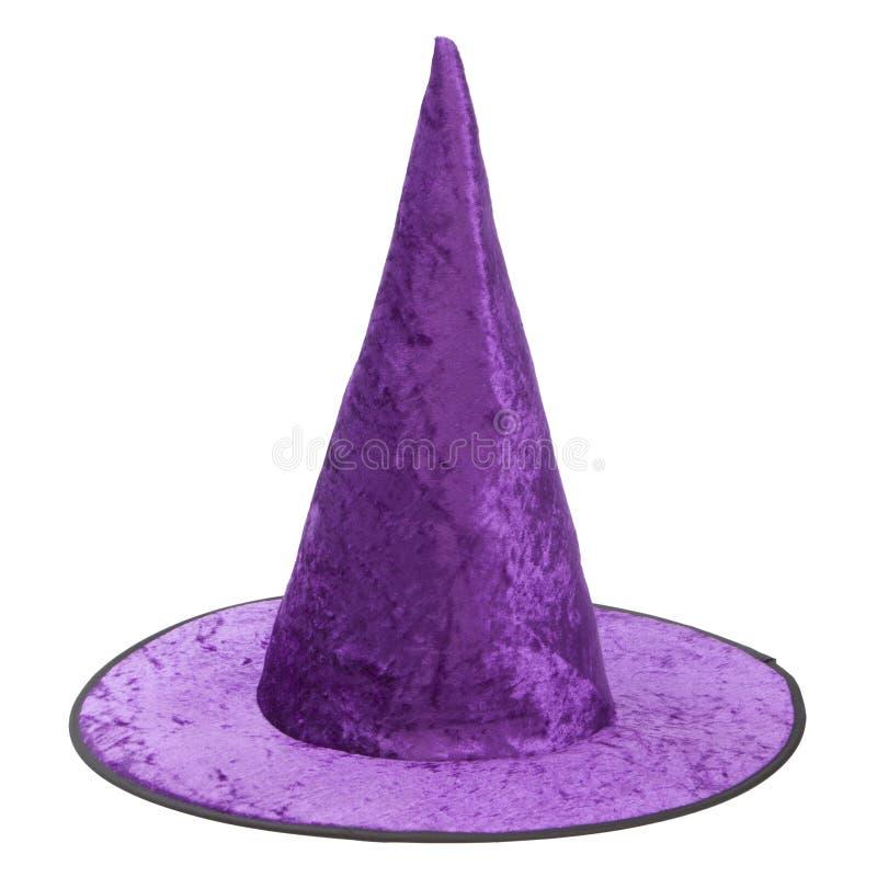 Chapeau pourpre de sorcière de tissu pour Halloween photos libres de droits